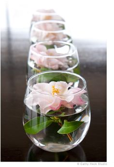 Such a simple, yet elegant flower arrangement! It is also fun to float camellias on a platter or in hurricane lanterns.