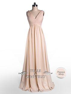 Simple Flowy Peach Pleated V-neck Bridesmaid Dress