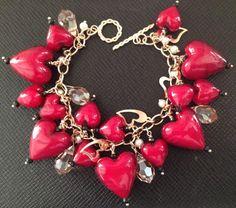 OOAK  Murano Glass Red Hearts Charm Bracelet by AmetistaDesigns