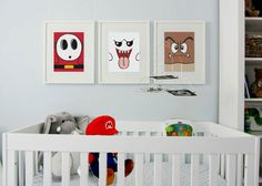 3 Super Mario Brothers Monsters modern print poster children nursery art