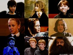 collage, draco malfoy, end, film, fred weasley, george weasley, gif, gifs, ginny weasley, hagrid, hermione granger, hp, movies, neville longbottom, ron weasley, severus snape, tumblr, ️harry potter
