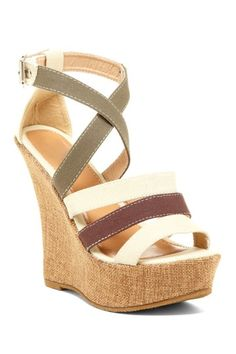 Carrini Multicolor Strap Wedge Sandal