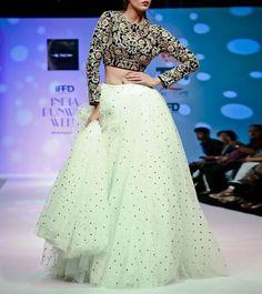 Mint Green Beadwork Net Lehenga With Navy Blue Zari Embroidered Velvet Crop Top Net Lehenga, Bridal Lehenga Choli, Lehenga Gown, Indian Lehenga, Saree Dress, Anarkali Suits, Lehenga Designs, Indian Wedding Outfits, Indian Outfits