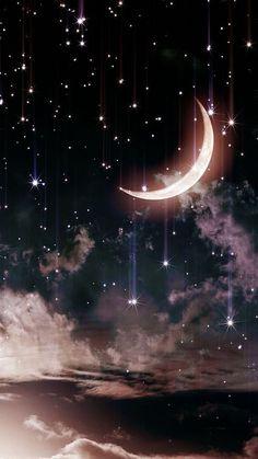 Iphone Wallpaper Moon, Moon And Stars Wallpaper, Cute Galaxy Wallpaper, Night Sky Wallpaper, Star Wallpaper, Wallpaper Space, Scenery Wallpaper, Wallpaper Backgrounds, Iphone Wallpaper Diamonds