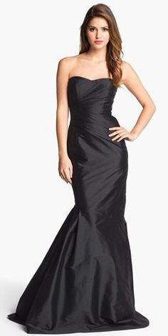 Strapless long black bridesmaid dress
