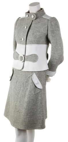 Courreges Couture Grey Wool and White Leather Skirt Suit, 1960s