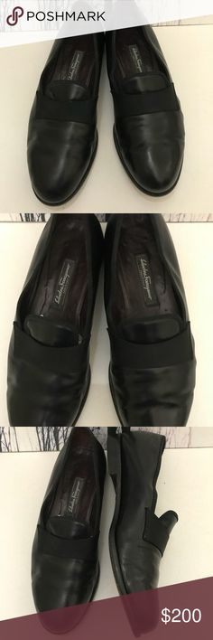 Authentic- Designer Genuine Leather Men Flats Authentic- Salvatore Ferragamo genuine leather with black ribbon band  Men's Shoes In Gently Used Condition. These shoes have been worn a couple of times but gently. Leather is in good condition.  Color:Black Size:10.5 Salvatore Ferragamo Shoes Oxfords & Derbys