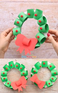 Let's take advantage of the perfect shapes of paper plates to make a paper plate Christmas wreath craft for kids. for kids christmas Paper Plate Christmas Wreath Craft Kids Crafts, Preschool Christmas Crafts, Winter Crafts For Kids, Toddler Crafts, Halloween Crafts, Santa Crafts, Craft Kids, Christmas Crafts Paper Plates, Fall Crafts