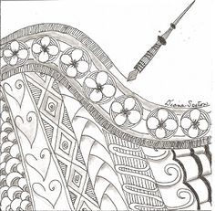 """"""" Joyce A. Myers This weeks Diva challenge is to create a zentan. Tangle Doodle, Tangle Art, Zen Doodle, Doodle Art, Doodle Borders, Doodle Patterns, Zentangle Patterns, Zentangle Drawings, Doodles Zentangles"""