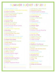 Summer Bucket List 2012 - 76 Summer Activities for Kids