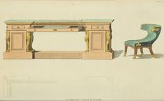 EKDuncan - My Fanciful Muse: Regency Furniture 1809 Ackermann's Repository Series 1 Vintage Furniture Design, Regency Furniture, Library Table, Georgian Era, Book Of Life, Table And Chairs, Entryway Tables, Color, Muse