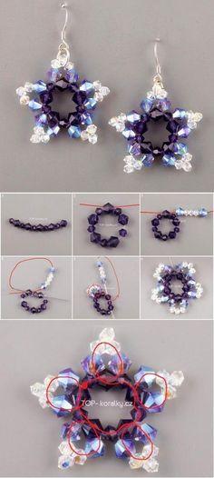 Brinco de estrela feito com balão de cristal. www.laskani.com.br DIY Beads Star Earrings | FabDiy