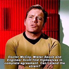 Kirk on the terror of his top officers actually agreeing on. well, anything, actually. Star Trek Quotes, Star Trek Meme, Star Trek 1966, Star Trek Tos, Star Trek Tv Series, Star Trek Original Series, Stephen Hawking, James T Kirk, Stark Trek