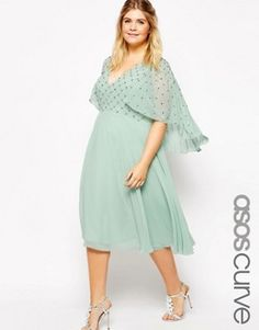 ASOS CURVE Waterfall Dress with Embellished Top