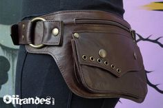 Utility Leather HiP Belt BaG   LUNAR ECLIPSE   BROWN by offrandes, $120.00