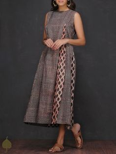 Buy Black Ecru Madder Ajrakh printed Cotton Dress by Jaypore SALE! Experiments kurtas dresses and pants Online at Jaypore.com
