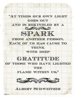 """Yes :: """"At times our own light goes out and is rekindled by a spark from another person. Each of us has cause to think with deep gratitude of those who have lighted the flame within us."""" -Albert Schweitzer"""