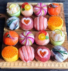 Pin on food Cute Food, Yummy Food, Kreative Desserts, Japanese Food Sushi, Sushi Cake, Exotic Food, Food Platters, Aesthetic Food, Korean Food