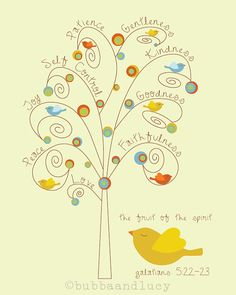 Fruit of the Spirit . fruit tree and birdies . by BubbaAndLucy