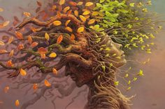Tomasz Alen Kopera Movement surrealism Type oil on canvas Dimensions 61 x 91 [cm] / x Year : 2013 Mother Earth, Mother Nature, Wild Is The Wind, Witch Room, Magical Tree, Summer Solstice, Green Man, Tree Art, Gaia