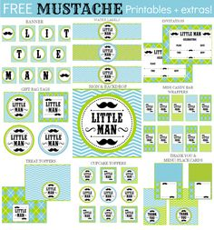 Mustache Collage textFree Little Man Mustache Set + extras!