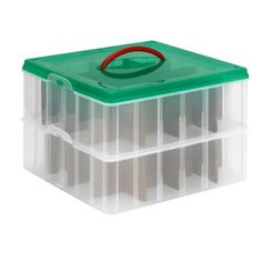 Ornament & Season Storage. Snapware brand - Snap 'N Stack. Two trays with removable dividers. Holds up to 32 ornaments. Seen at Home Depot.
