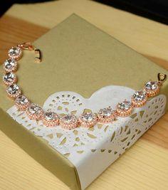 Rose Gold Bracelet Bridal Bracelet Earrings by thefabbridal3
