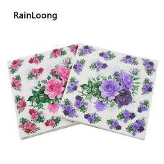 [ Rainloong ] Pink Rose guardanapos de papel Floral festividades & Party jantar Tissue Guardanapo Guardanapo 33 cm * 33 cm 20 unidades/pacote / lot(China (Mainland))