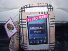 New Charm 14 Cell Phone Holder Purse Touch Screen Beige Plaid Adj Strap