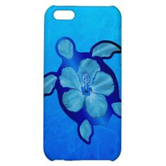 Blue Honu Turtle and Hibiscus iPhone 5C Cases