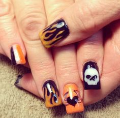 Harley Davidson inspired nails