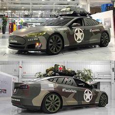 Tesla Model S with army camo wrap, SS Custom, Vets Day