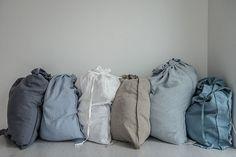 Large washed linen laundry bag