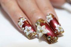 prom 3D flower art for nails creativebeautyhealth.com