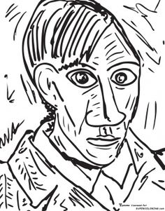 self portrait 1907 by pablo picasso free printable coloring page - Artwork Coloring Pages