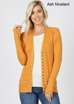 Snap Button Sweater Cardigan W/Detail Cardigan Outfits, Sweater Cardigan, Mustard Yellow Cardigan, Summer Sweaters, Buttons, Sleeves, Clothes, Color, Detail