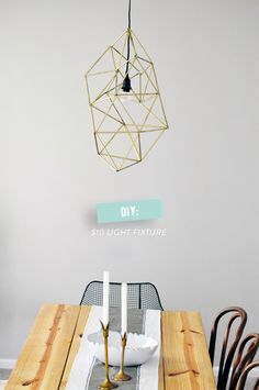 DIY geometric light fixture (via (Style Me Pretty) Diy Luminaire, Wainscoting Styles, Wainscoting Height, Wainscoting Hallway, Wainscoting Kitchen, Diy Pendant Light, Wire Pendant, Gold Pendent, Pendant Lamp