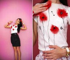DIY red poppy shirt
