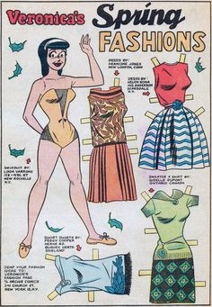 Out Of This World: Cute Girlie Stuff: Paper Dolls and Katy Keene several comic book gals collected here. Paper Toys, Paper Crafts, Paper Art, Foam Crafts, Newspaper Paper, Creation Art, Betty And Veronica, Doll Painting, Archie Comics
