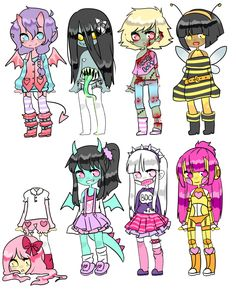 Adopts || Monster Girl Challenge 2 by Tenshilove.deviantart.com on @DeviantArt