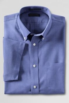 FOR DAD xmas :) Men's Traditional Fit Short Sleeve Solid No Iron Oxford Shirt from Lands' End