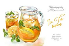 My ice tea pitcher illustration is ready! It was a great oppirtunity to use my favourite Orange Red Shade and Green Gold here. Probably not the primary colours in my pallete, but it's such fun to use them! Illustration Mode, Food Illustrations, Watercolor Illustration, Iced Tea Pitcher, Watercolor Food, Lemon Watercolor, Food Sketch, Food Painting, Food Drawing