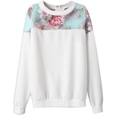 Choies White Floral Sweatshirt With Organza Panel ($22) ❤ liked on Polyvore featuring tops, hoodies, sweatshirts, sweatshirt, sweaters, white, floral print top, sweatshirt hoodies, floral sweatshirt and floral top