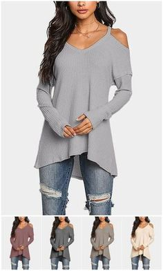 Grey Cold Shoulder Long Sleeves T-shirts with High Low Hem US$15.95