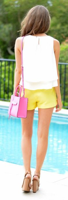 Yellow High Waisted Shorts Outfit Idea by Southern Curls and pearls