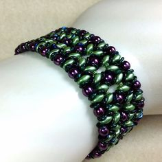 Green Super Duo Beaded Cuff Bracelet Beaded by JewelryCharmers, $48.00