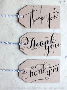 Thank You Card Set with gift box, black on white calligraphy font