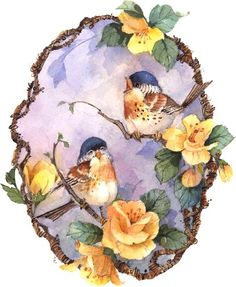 decoupage birds and yellow flowers on blue Decoupage Vintage, Decoupage Paper, Vintage Diy, Vintage Cards, Vintage Postcards, Vintage Images, China Painting, Bird Pictures, Bird Prints
