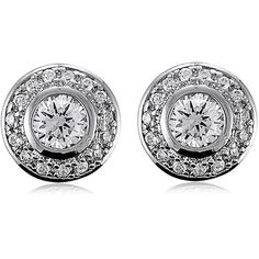 BERRICLE Sterling Silver CZ Round Wedding Bridal Fashion Stud Earrings ($47) ❤ liked on Polyvore