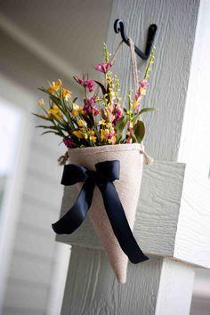 burlap wedding cone